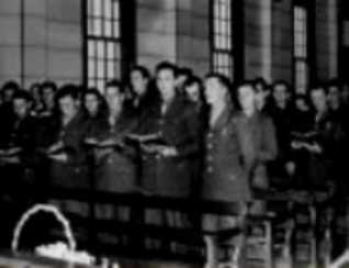 Photo of a church service in Army chapel.
